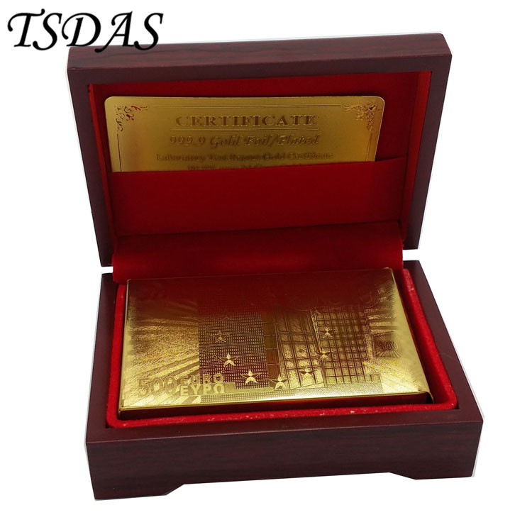 24K 999.9 naipes bañados en oro Euro 500 en Red Box Poker Deck 99.9% Gold Foil Cards Venta caliente en 2016