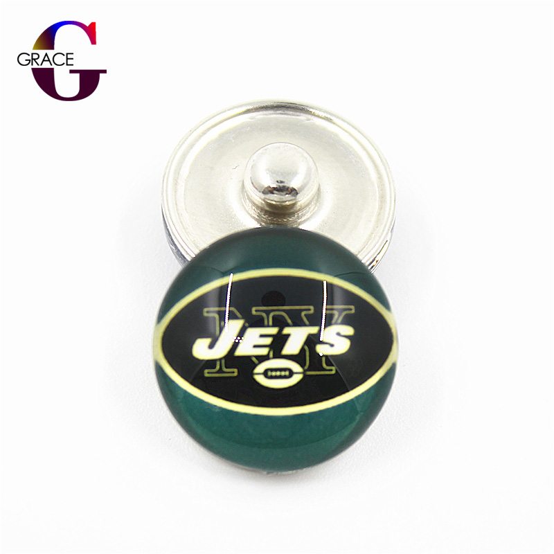 New York Jets Football Team Sports Charms 18mm Replaceable Ginger Glass Snap Buttons Fit ...