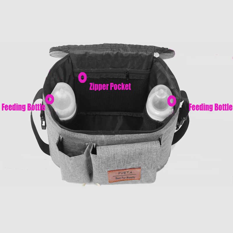 PYETA Diaper Bag For Baby Stuff Nappy Bag Stroller Organizer Baby Bag For Mom Travel Hanging Carriage Pram Buggy Cart Bottle Bag
