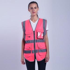 Image 3 - הוורודה לנשים היי Vis אפוד עם פסים רעיוני בטיחות אפוד עם כיסי רוכסן