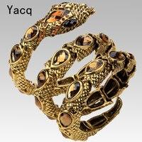 Snake Stretch Bracelet Upper Arm Cuff Armlet For Women Gold Tone Punk Rock Summer Style Crystal