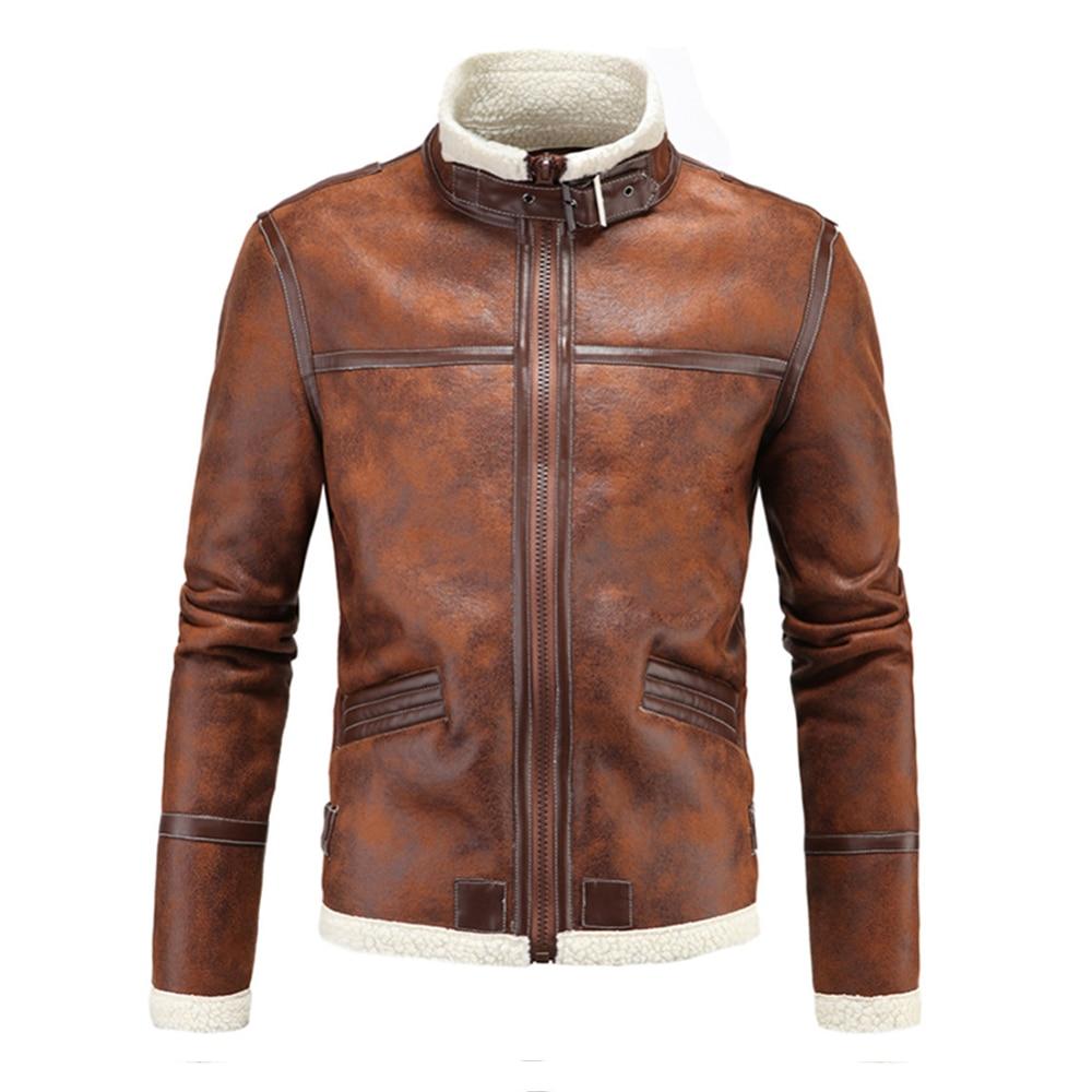 Herobiker Motorcycle Jackets Men PU Leather Jacket Vintage Retro Zipper Biker Punk Classical Windproof Faux Leather Moto Jacket oblique zipper faux leather biker jacket