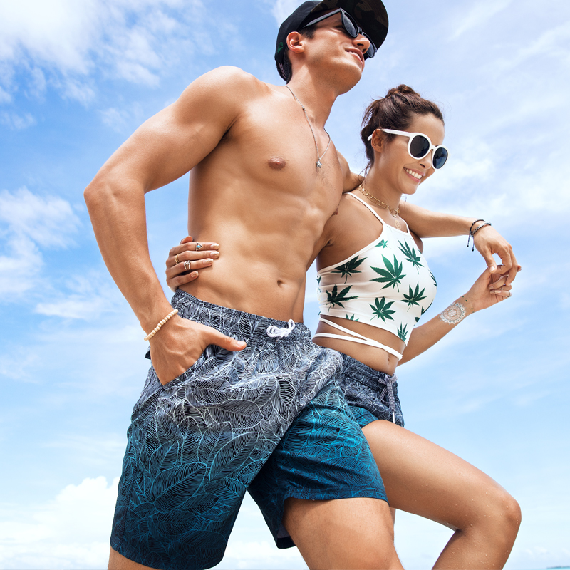 Summer couples board shorts sweat liner beach short swimwear men siwmming trunks water sports praia surf plavky swimsuits travel