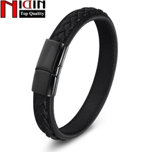 NIDIN men Jewelry Bracelets & Bangles Stainless Steel Genuine Leather Bracelet for men Rope Charm Bracelets male все цены