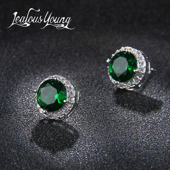 Classic Green Zirconia Stud Earrings Round Crystal Women Multicolor Fashion Jewelry