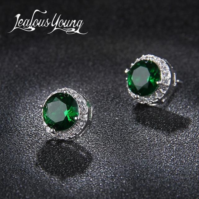 Classic Green Zirconia Stud Earrings Round Crystal Women Multicolor Fashion Jewelry