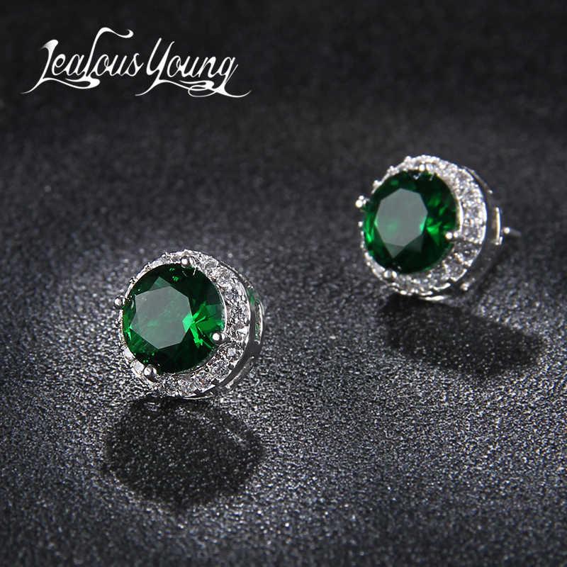 Классические зеленые серьги-гвоздики с кубическим цирконием ААА, круглые серьги-гвоздики с кристаллами для девушек, женские разноцветные модные ювелирные изделия, серьги AE176