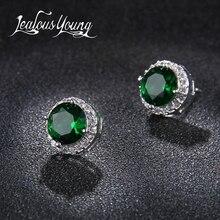 Classic Green AAA Cubic Zirconia Stud Earrings Round Crystal