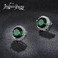 Pendientes de circonita cúbica de circonita verde clásico con tachuelas redondas de cristal para mujer joyería de moda Multicolor brincos AE176