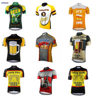 HIRBGOD Hot Men Summer Funny Beer Jersey Short Sleeve Shirt Sports Bike Jersey Clothing Female Maillot ciclismo hombre, HHK043