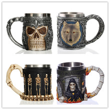 Gothic Skull Coffee Mug Stainless Steel Resin Material Cool Skeleton Wolf Head Design Coffee Tea Beer Drinking Cup Birthday Gift недорого