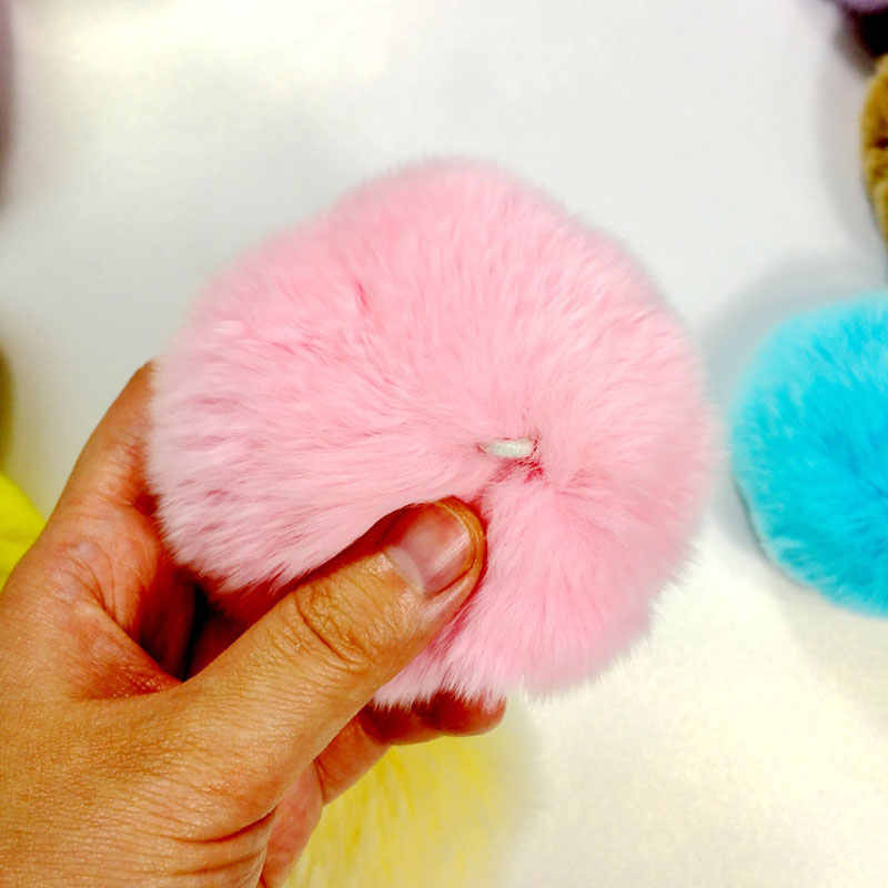 8 см помпон без брелока кролик пушистый брелок Pom лампа Pom женская сумка искусственный мех кролика мяч шерсть мех брелоки