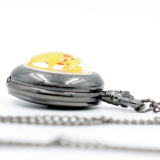 Pikachu Genius Pokemon Go Bronze/Black/Silver Quartz Pocket Watch Pendant Necklace Men Watch Women Watch Chain Girls Boys Gift