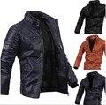 Nueva llegada Chaqueta de los hombres de la pu Chaqueta de Cuero Chaqueta de la motocicleta casual para hombre de bata botón cremallera chaqueta para hombre Azul Marino