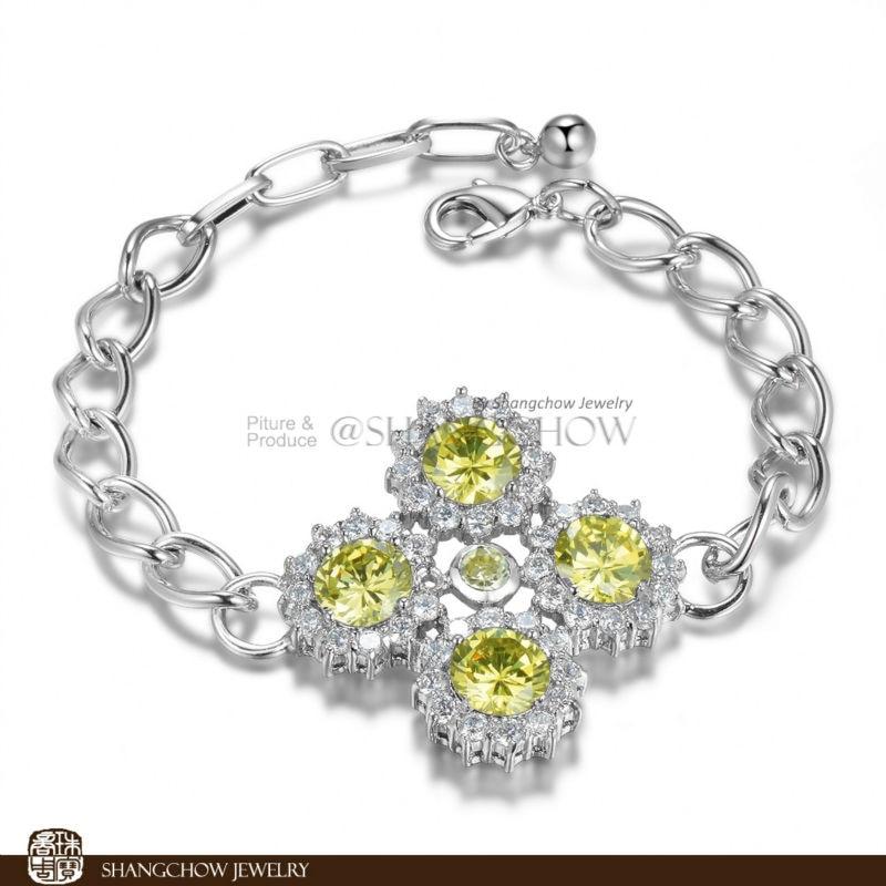 New! Stunning Fashion Jewelry 5 PCS Yellow Quartz 925 Sterling Silver Bracelet B0054