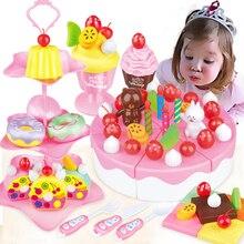 86Pcs DIY Pretend Play Fruit Cutting Birthday Cake Kitchen Food Toys Cocina De Juguete Toy Pink Blue Kid Girls Gift for Children