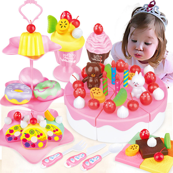 86Pcs DIY Pretend Play Fruit Cutting Birthday Cake Kitchen Food Toys Cocina De Juguete Toy Pink Blue Kid Girls Gift for Children 38 80pcs diy pretend play fruit cutting birthday cake kitchen food toys cocina de juguete toy children girls christmas gift toys