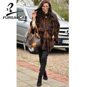 Image 5 - FURSARCAR 럭셔리 새 여성 자연 진짜 밍크 모피 코트 스탠드 칼라 박쥐 두꺼운 따뜻한 정품 모피 판쵸 여성을위한