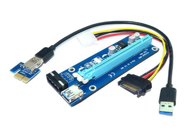 GPU PCIe PCI-E PCI Express 1X a 16X Extensor De Riser USB 3.0 cabo 60 cm + Alimentação SATA Molex para Bitcoin BTC Mineiro Litecoin RIG