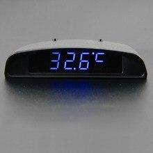 12 V Interior Del Coche Del Ajuste Theromometer Apariencia 3 En 1 Reloj Del Coche Y Monitor de Voltaje de Siete Tipos de Modo de Visualización