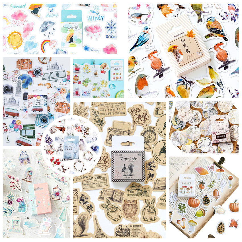 46pcs/pack Cute Squirrel Stickers Paper Kawaii Bird Travelling Stickers Decoration Diary Scrapbooking School Supplies