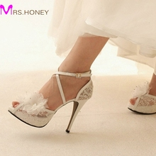 White Lace Ankle Straps Wedding Shoes Handcraft Applique Women Bridal Pumps Evening Party Platforms Heels Sandals Prom Shoes