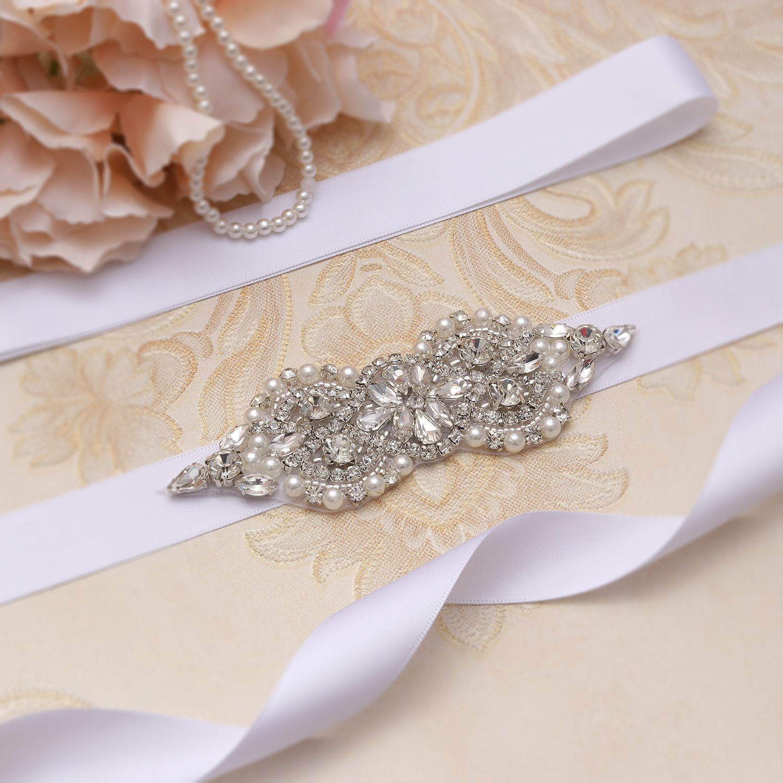 MissRDress Wedding Belt Silver Crystal Bridal Sash Rhinestones Pearl Bridal Dress Sash For Wedding Accessories JK932