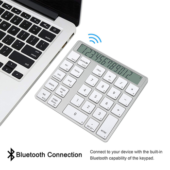 Laptop With Number Pad | Rechargeable 2 In 1 Bluetooth Number Pad And Calculator With 12-Digit LCD Display For Laptop Computer Apple, 29Keys With 00 Key