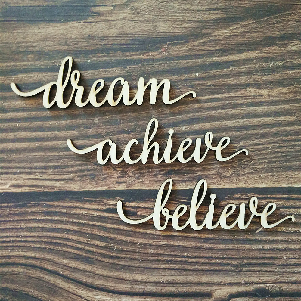 Us 5 99 12pcs Dream Believe Achieve Wood Sign Laser Cut Wooden Signs Home Room Rustic Gallery Wall Decor Craft In Party Diy Decorations From Home