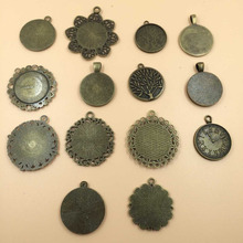 Mix Charms Lot Vintage Bronze Round Clock Tree Lace Fits 25mm Blank Tray Cameo DIY Jewelry Making 14pcs/Lot(M004) New Arrival