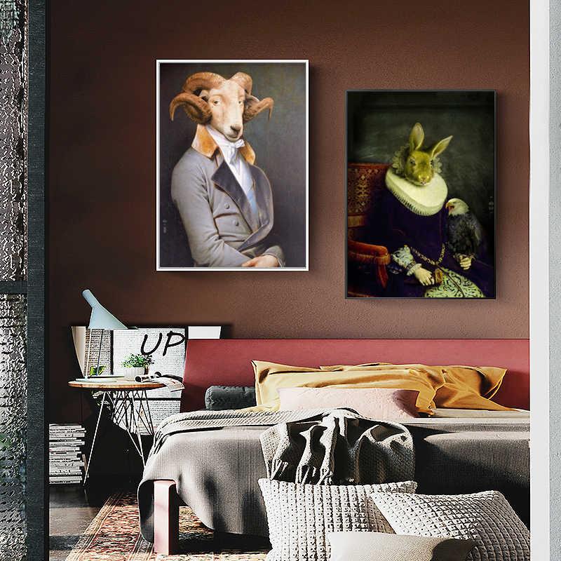 Wangart Dinding Seni Retro Nostalgia Pria Lukisan Minyak Hewan Poster Cetak Kanvas Lukisan untuk Ruang Tamu Model Dekorasi Rumah