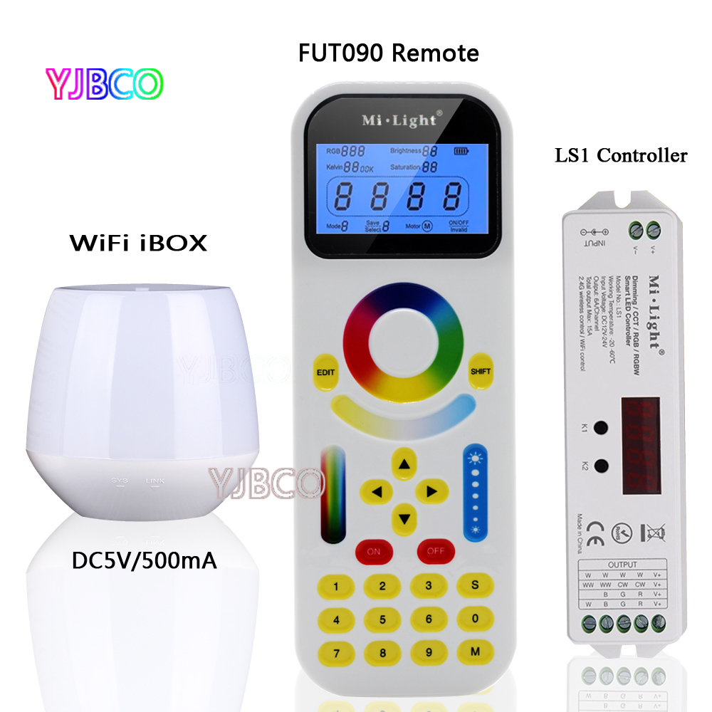 Remote FUT090 2.4GHz + WiFi iBox1+MiLight LS1,DC12V 24V 15A,4 in 1 Smart LED Controller for Single Color, RGB RGBW CCT Strip