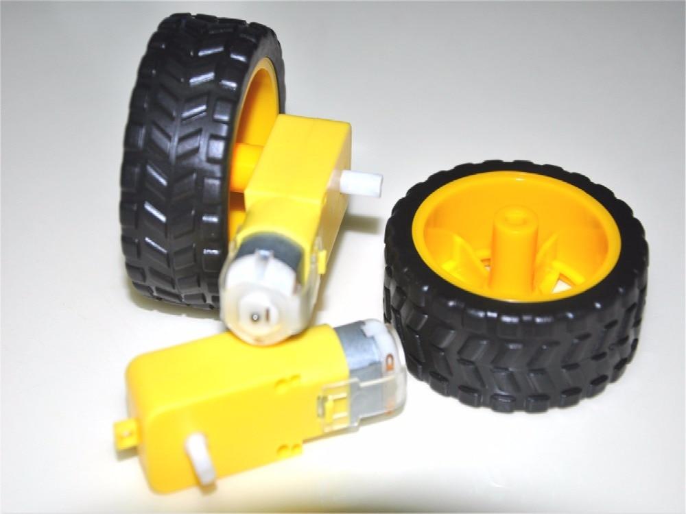 Livraison post-haute qualité intelligente voiture TT moteur 3 V-6 V robot pneus + DC motoréducteur roues