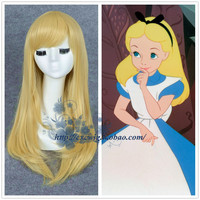 Fairy Tale Alice in Wonderland Alice Gold Wig Girl Straight Gold Long Hair Role Play Costumes