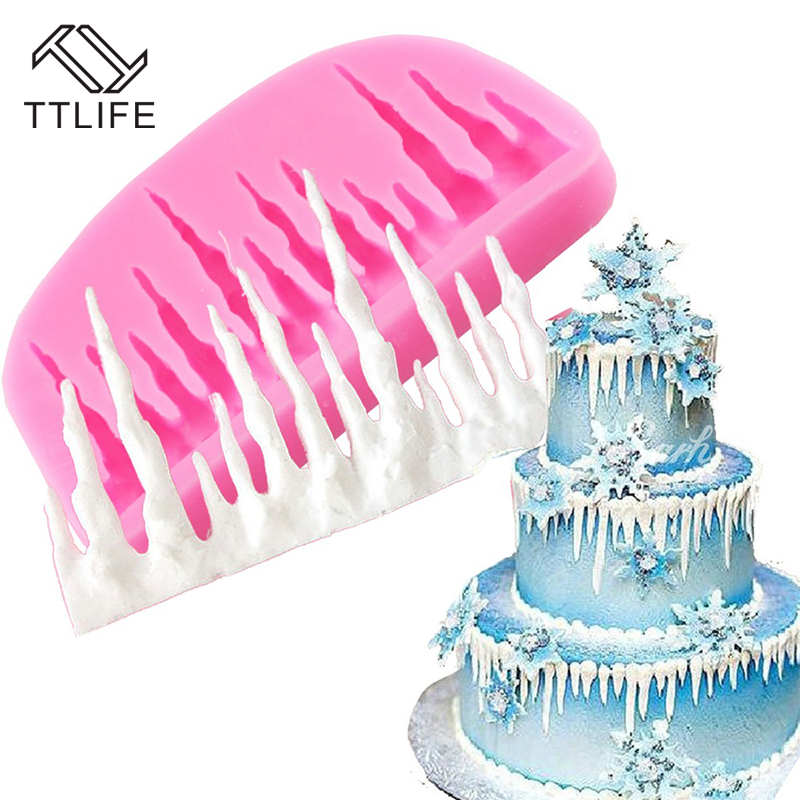 TTLIFE Frozen Ice Cone Christmas Cake Border Silicone Mold Fondant Cake Decorations Chocolate Cookie Mould Dessert Decorators