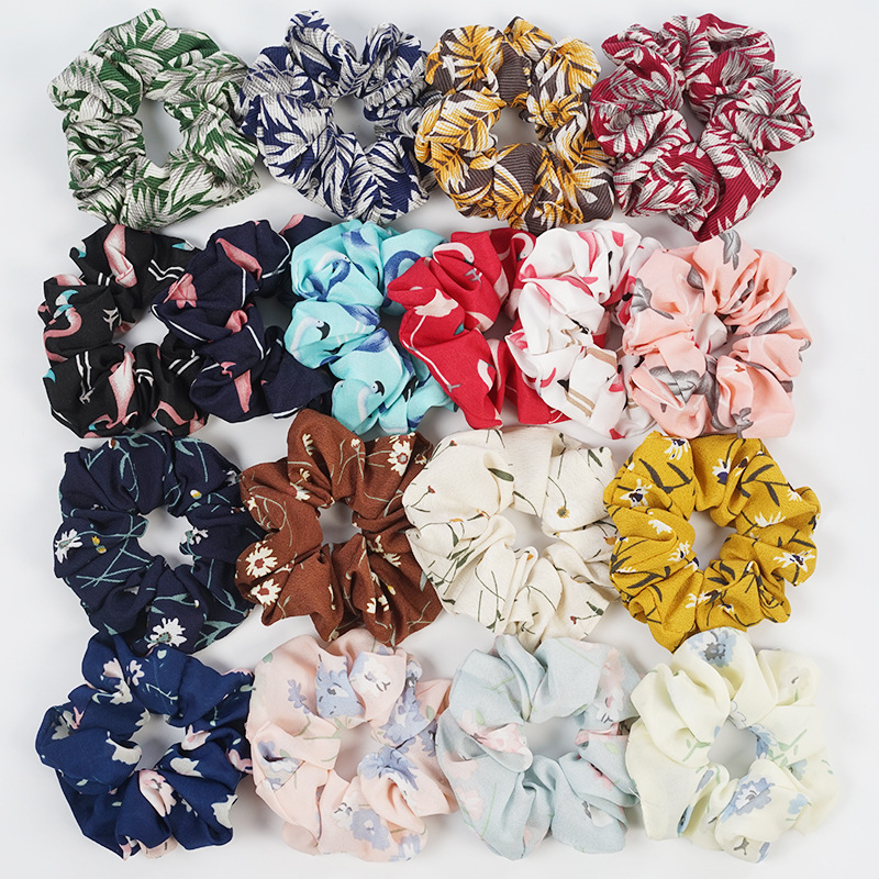 Summer Chiffon Floral Fabric Scrunchie Women Lady Girls Elastic Hair Rubber Bands Tie Hair Ring Rope Ponytail Holder Accessories