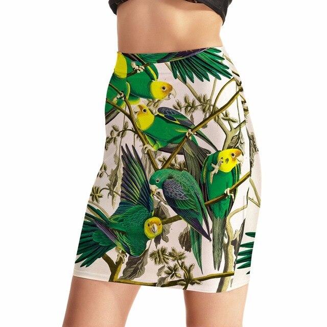 NEW Arrival 0023 Sexy Girl Women Summer Bird green parrot 3D Prints Skater  Miniskirt Evening Sexy Mini Tight Skirt