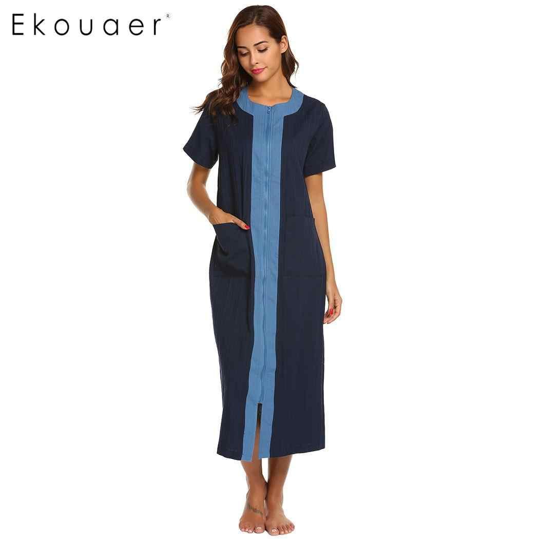 51c2af154d Detail Feedback Questions about Ekouaer Women Long Nightgown Cotton Night  Dress Round Neck Straight Zipper Female Sleepwear Night Gown Homewear Wear  Plus ...