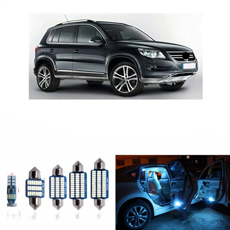 14pcs Canbus Auto Interior LED Light Bulbs Kit For 2009-2012 Volkswagen VW Tiguan Map Dome License Plate Light Car styling White 15pc x 100% canbus led lamp interior map dome reading light kit package for audi a4 s4 b8 saloon sedan only 2009 2015