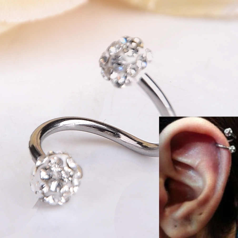 b2c469421 1 PC S Shape Ear Labret Ring Surgical Stainless Steel Crystal Double Balls  Twisted Helix Cartilage