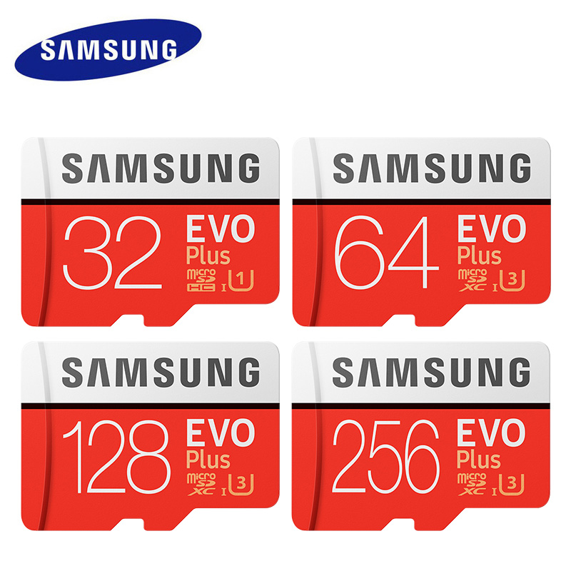 Original SAMSUNG Micro cartão SD de 32 GB 64 GB Classe 10 Cartão de Memória EVO + EVO Mais microSD 128 GB Cartão SDXC de 256 GB TF cartao de memoria