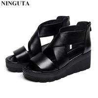 Platform gladiator sandals women Genuine Leather lightweight summer shoes woman