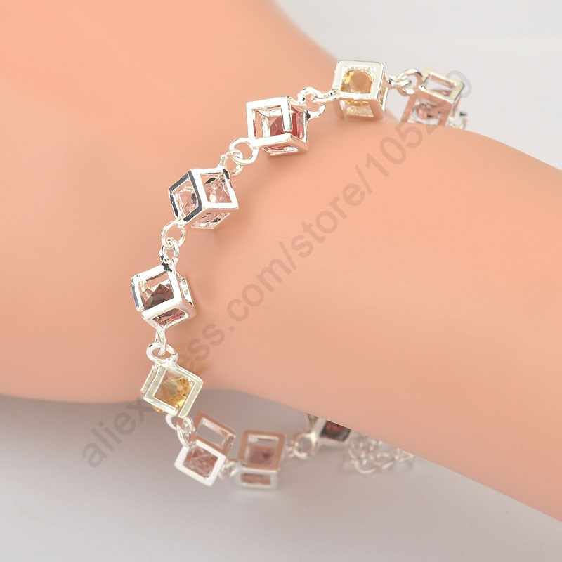 Gorąca sprzedaż błyszczące CZ kryształowe szczęście kostka rubika prawdziwe 925 srebro kobieta dziewczyna bransoletka wielobarwny Cube Rainbow biżuteria