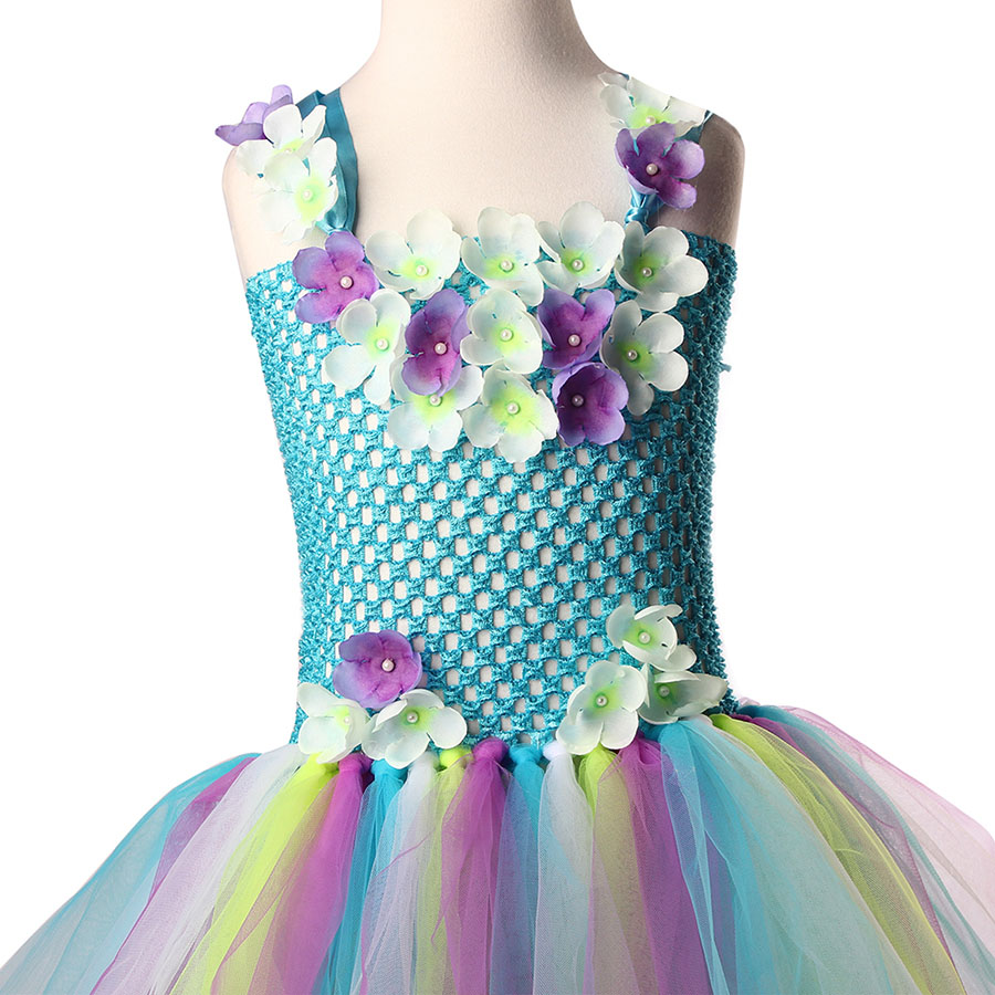 Kids Princess Multi Colored Flowers Long Tail Tutu Dress Baby Girls (4)