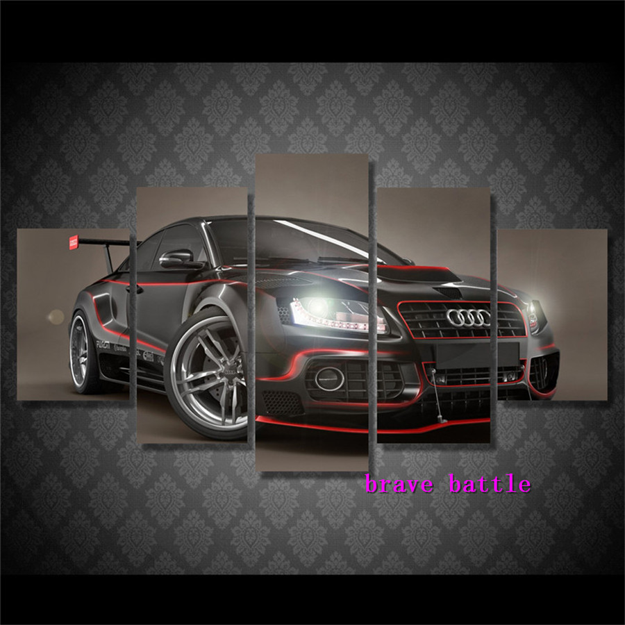 Audi Sports Car Canvas Painting Living Room Home Decor Modern Mural Art Oil Painting#02