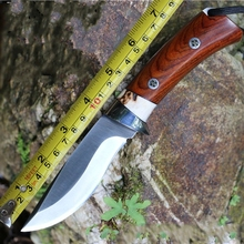 Outdoor  pure manual 9Cr18Mov knife Handmade Straight Knife harp Hunting Knife  gift collection Real horn handle