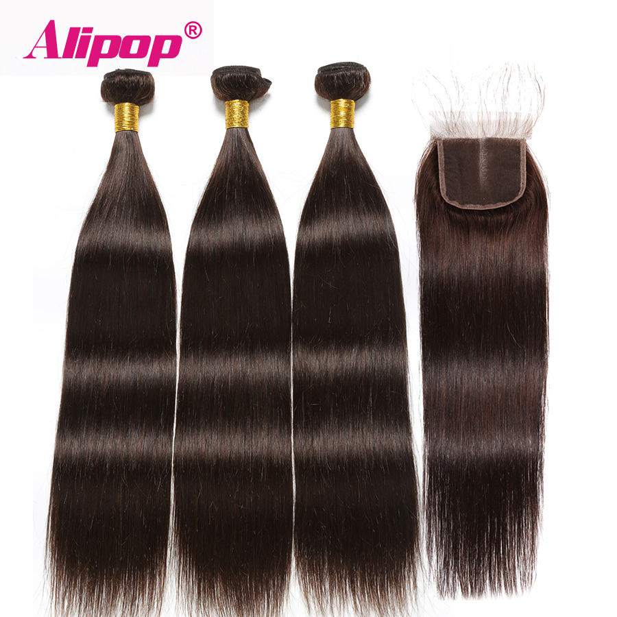 Brown Bundles With Closure Straight Hair 3 Bundles With Closure Brazilian Human Hair Bundles Alipop NonRemy #2 Dark Brown Color