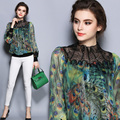 Women's Chiffon Tops 2017 New Fashion Summer Style peacock feather printing embroider Blouses 2XL Plus Size Women Clothing