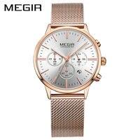 MEGIR Marka Luksusowe Kobiety Zegarki Moda Panie Zegarek Kwarcowy Sport Relógio Feminino Zegar Zegarek dla Miłośników Przyjaciółki