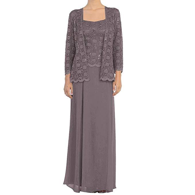 2019 Lace Chiffon Long Sleeve Formal Mother Of The Bride Dress Long With Jacket Vestido De Festa Longo